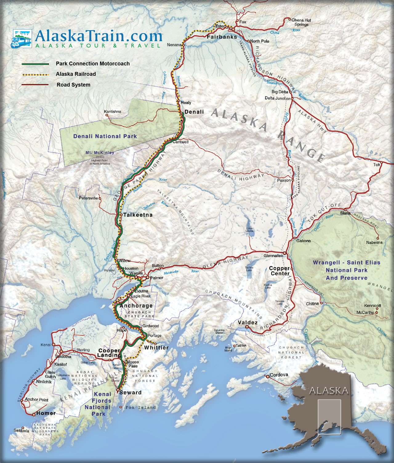 Alaska Railroad Map Alaska Train Maps AlaskaTraincom - Alaska maps