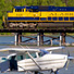 Alaska train and float plane.